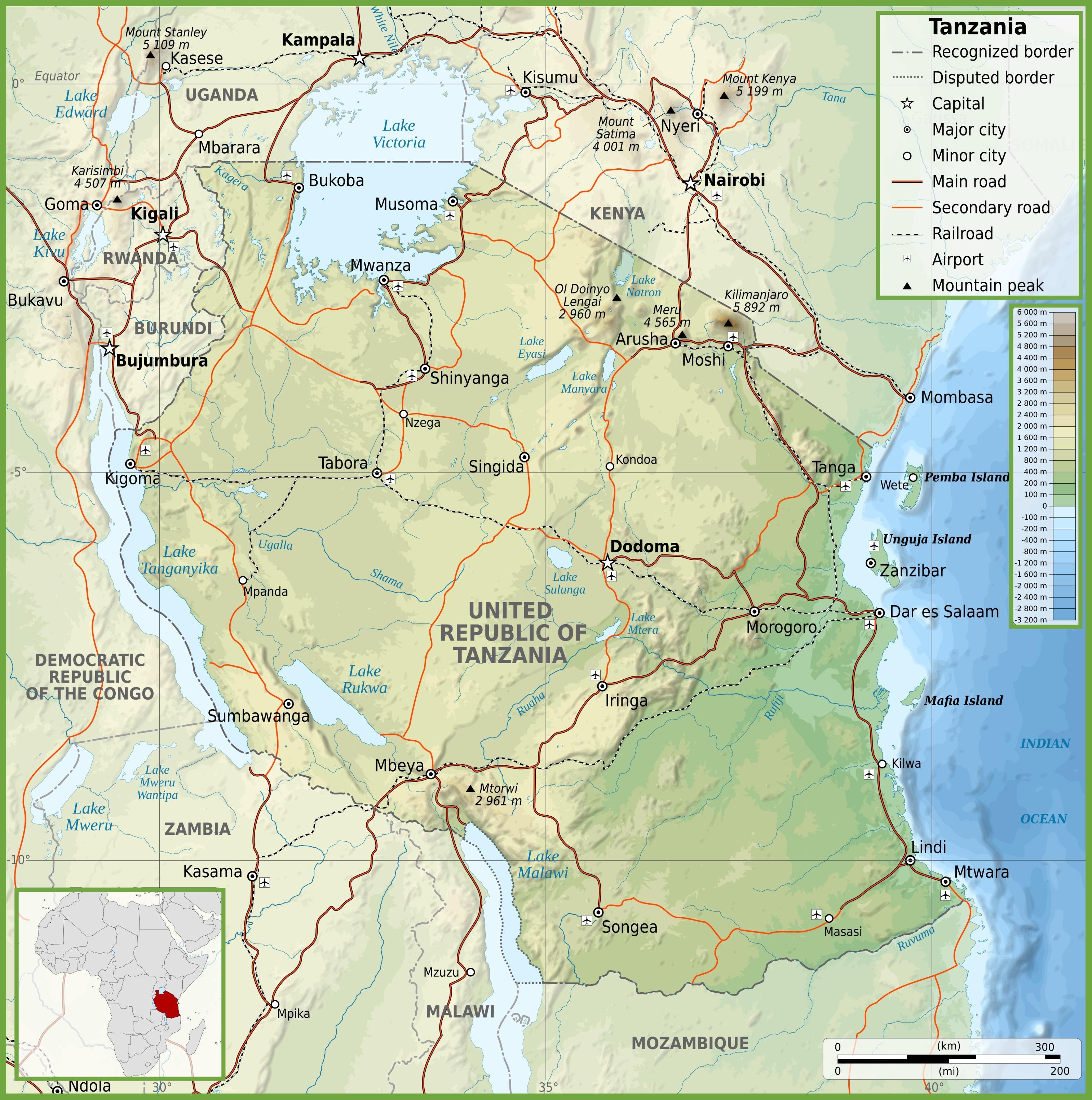 Karta Och Avstand.Road Karta Over Tanzania Med Avstand Karta Over Vagen Tanzania Med